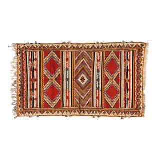Moroccan Diamond Pattern Atlas Rug - 3′7″ × 6′3″