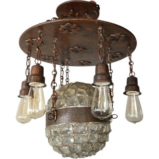 Swedish Arts & Crafts Glass & Copper Chandelier