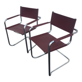 Chrome & Vinyl Cantilever Chairs - A Pair