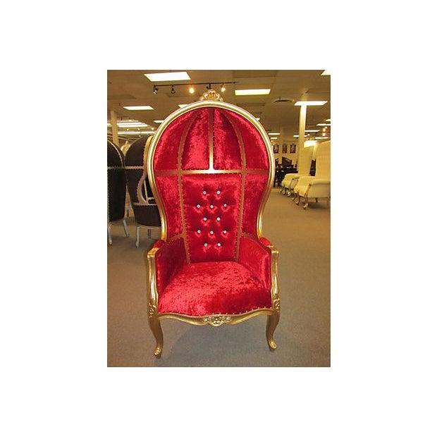 High-Back Velvet Canopy Chair - Image 2 of 8