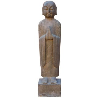 Chinese Stone Carved Monk Lohon Statue