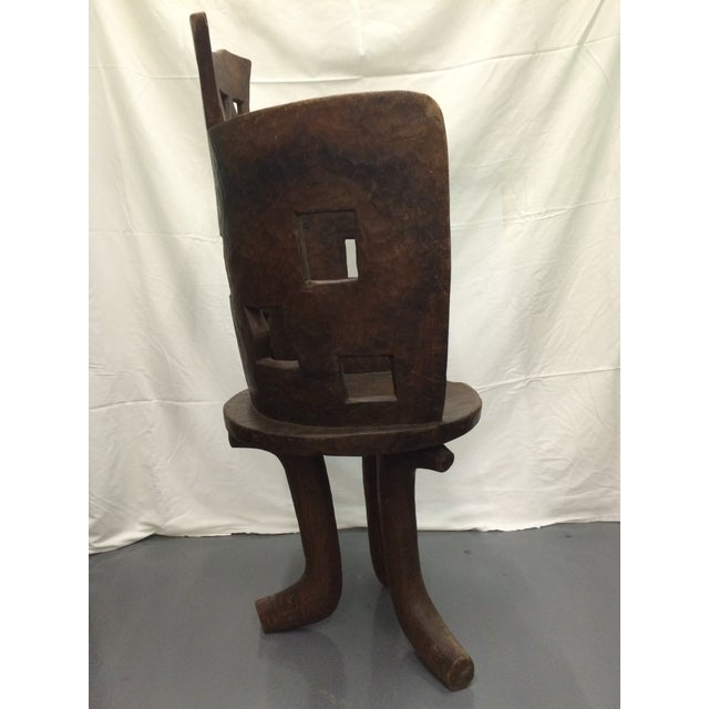 Antique Ethiopian Hand Carved Wooden Chair - Image 4 of 6