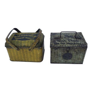 19th Century Tobacco Tin Lunch Boxes - Pair