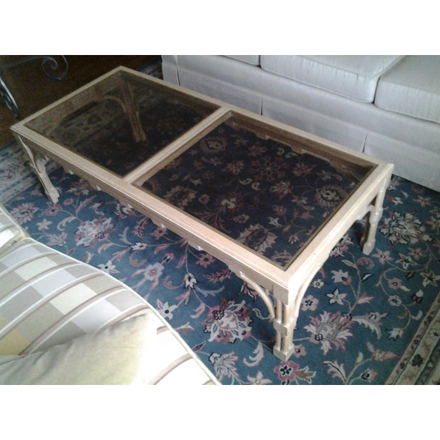 Transitional Wood & Glass Coffee Table - Image 6 of 7
