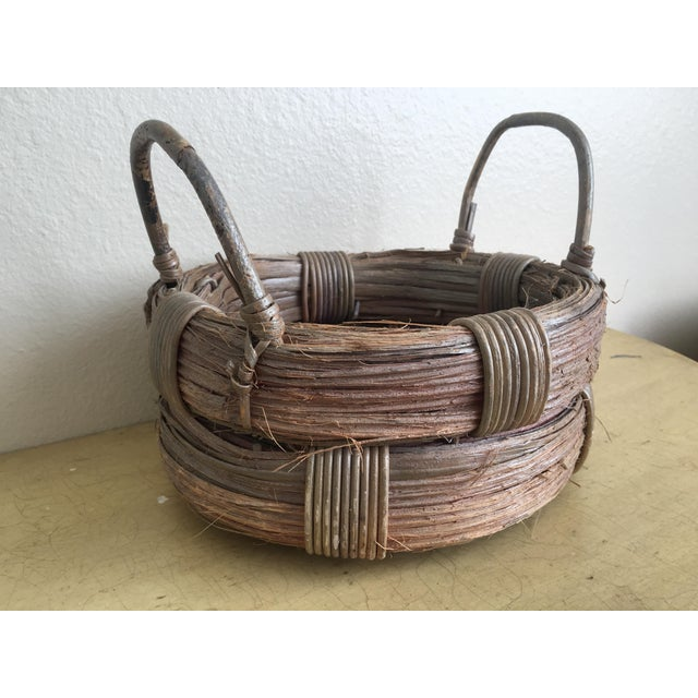Rustic Wicker Basket, Vintage Holiday Decor - Image 2 of 7