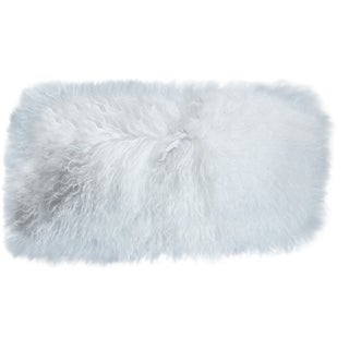 Mongolian Sheepskin White Lumbar Pillow