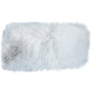 Mongolian Sheepskin White Lumbar Pillow