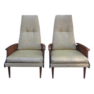 Mid-Century Bentwood Arm Lounge Chairs - Pair