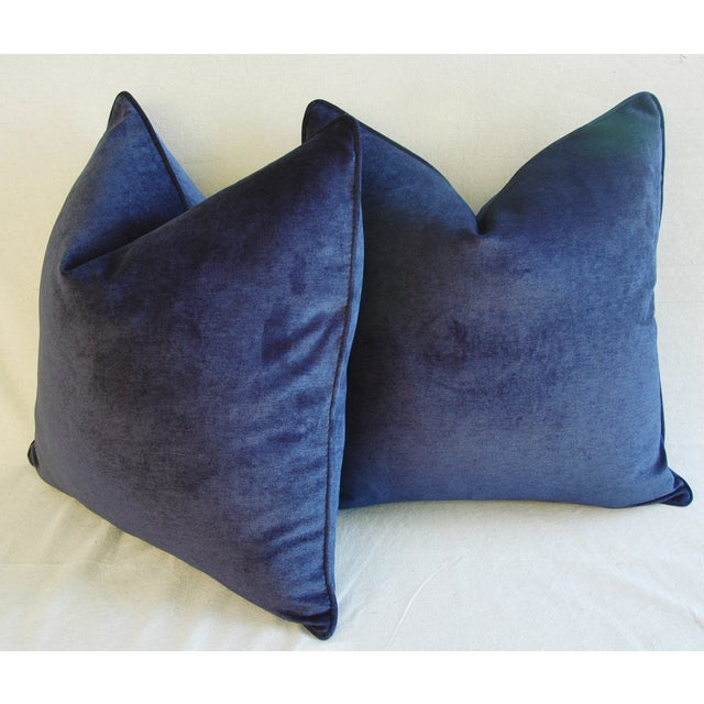 Large Designer Midnight Blue Velvet Feather/Down Pillows - Pair - Image 8 of 10