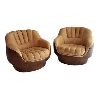 1970s Leather Lounge Chairs in the Style of De Sede