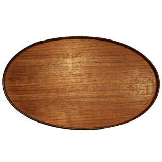 Danish Modern Oversized Teak Oval Tray