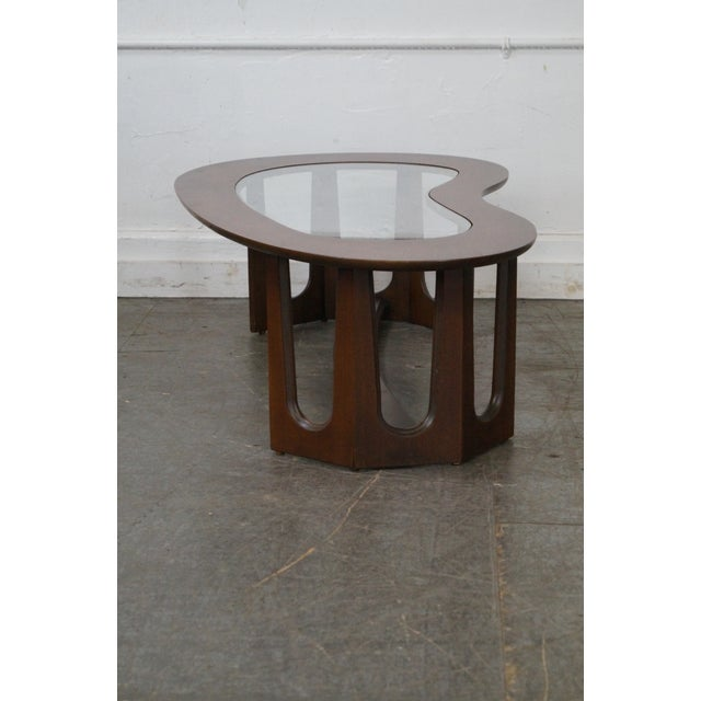 Mid-Century Boomerang Walnut & Glass Top Coffee Table - Image 8 of 10