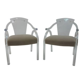 1940s Art Deco Lucite Armchairs - A Pair