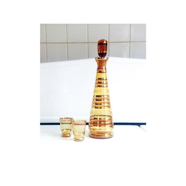 Image of Art Deco Gold Striped Bohemian Glass - Pair