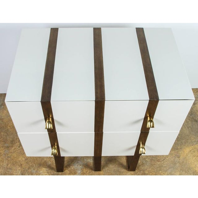 Image of Paul Marra Two-Drawer Banded Chest in Lacquered Finish and Inset Iron Band