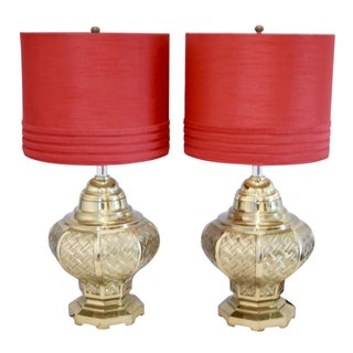 Brass Basketweave Urn Style Table Lamps - A Pair