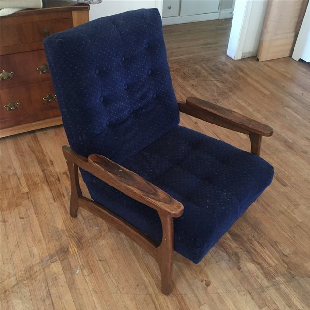 Vintage Navy Blue Tufted Lounge Chairs - A Pair - Image 2 of 6