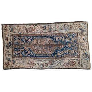 "Antique Ivory Kurdish Rug - 3'8"" X 6'7"""