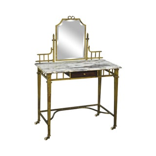 Antique Brass Marble Top Dressing Table Vanity w/ Mirror