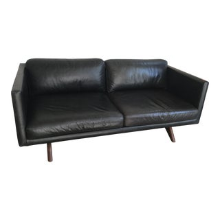 "West Elm ""Brooklyn"" Black Leather & Walnut Frame Sofa"