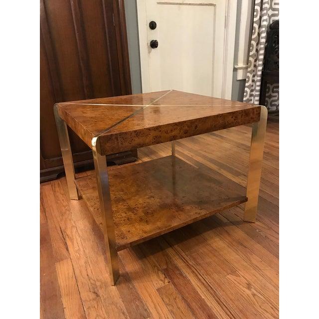 Vintage Brass Burl Wood Coffee Table Image 2
