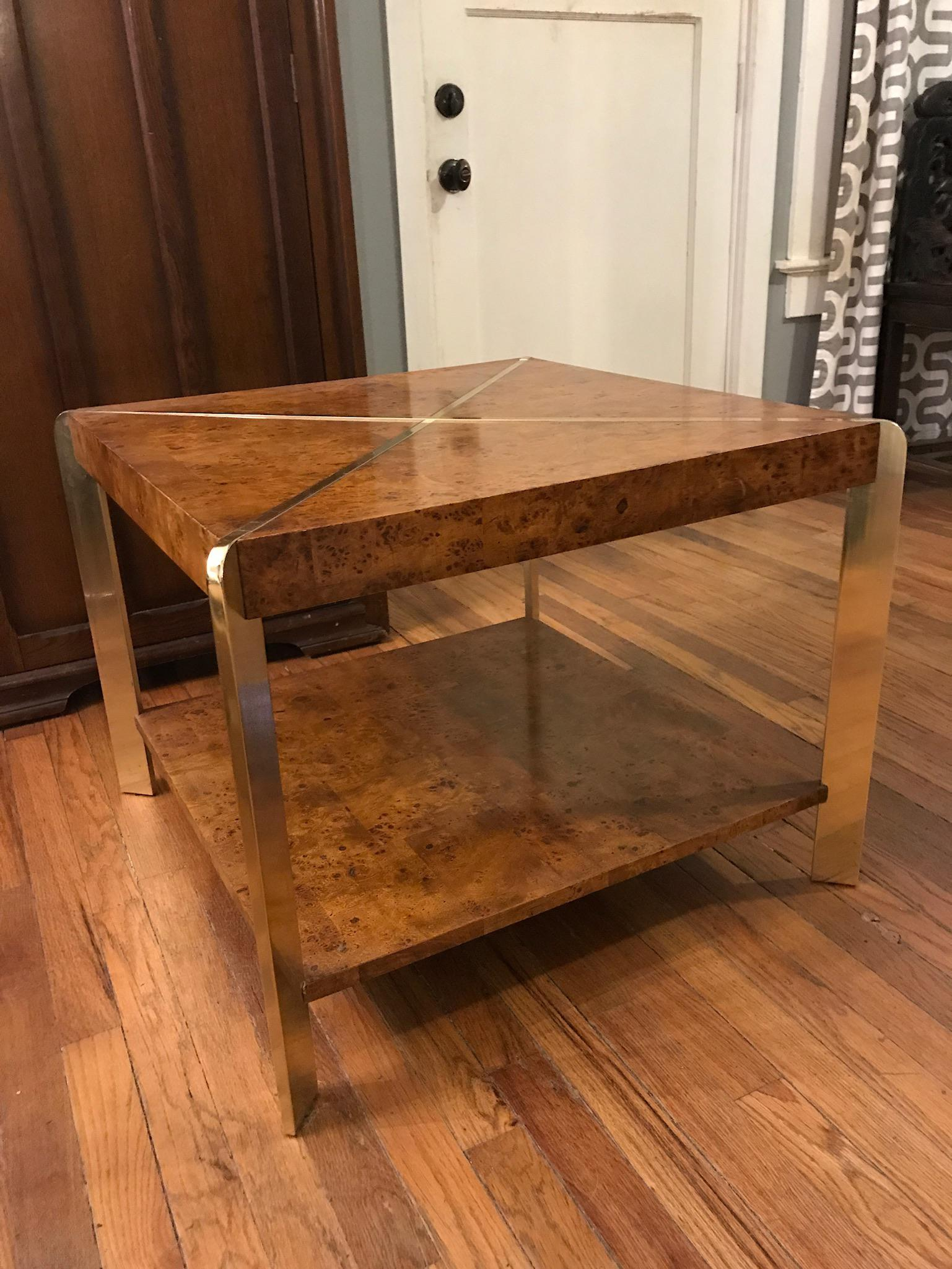 Vintage Brass U0026 Burl Wood Coffee Table   Image 2 ...