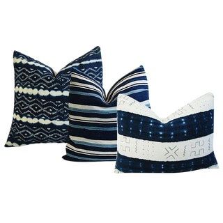 African Mali Tribal Textile & Indigo Blue Stripe & Linen Feather/Down Pillows - Set of 3
