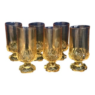 1970s Tiffin Franciscan Cornsilk Yellow Glass Water Goblets - Set of Six