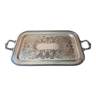 Large Silverplate Handled Engraved Tray