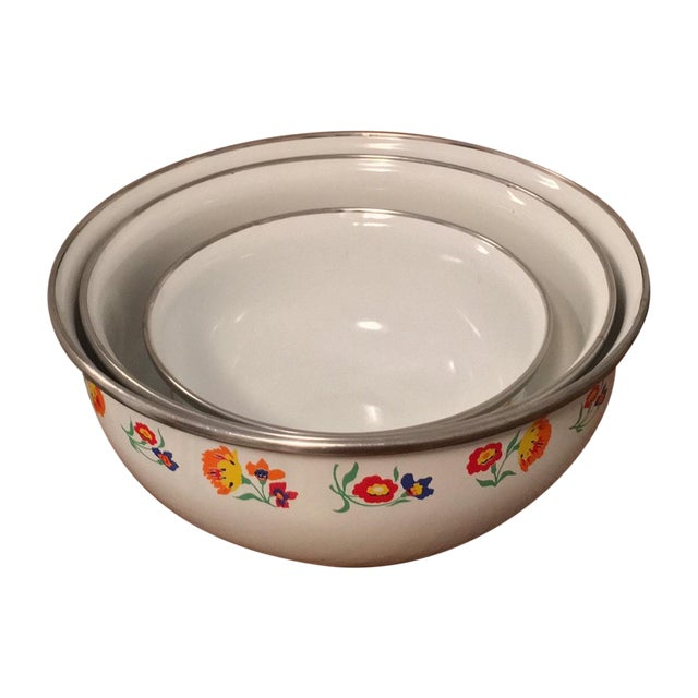 Floral Print Enamel Mixing Bowls - Set of 3 - Image 1 of 6