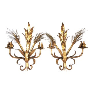 Vintage Wheat Sheaf Wall Sconces - a Pair