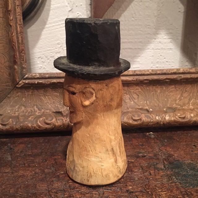 Vintage Folk Art Wooden Head With Hat - Image 4 of 9