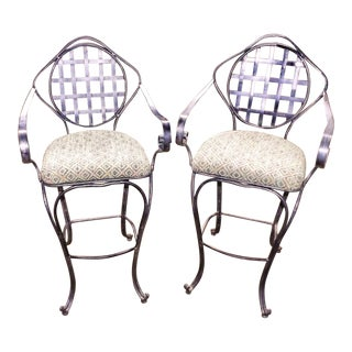 Wrought Iron Counter Stools - A Pair