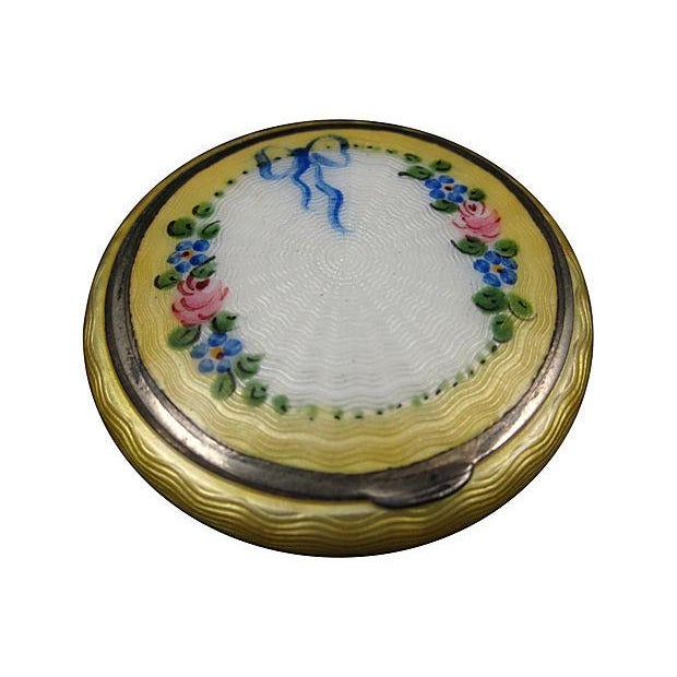 Yellow Guilloche Enamel on Sterling Silver Compact - Image 1 of 4