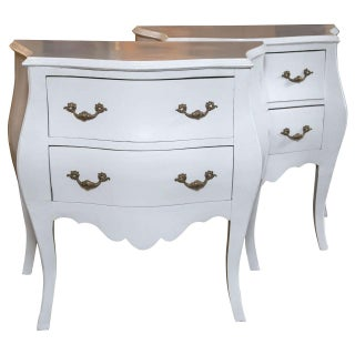 Painted Bombe Commodes or Nightstands - A Pair