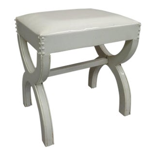 French Mid-Century Modern Neoclassical Bench in White Vinyl Attr to Billy Haines