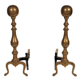 Mid-Century Brass Cannonball Andirons - A Pair