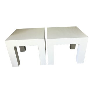 Vintage Mod White Laminate Parsons Tables - a Pair