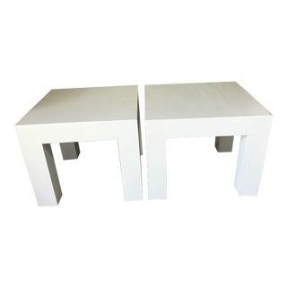 Vintage Mod White Laminate Parsons Tables - a Pair