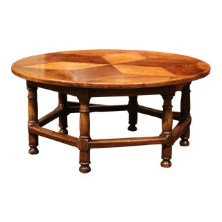 Midcentury French Six-Leg Round Coffee Table with Geometric Parquet Top