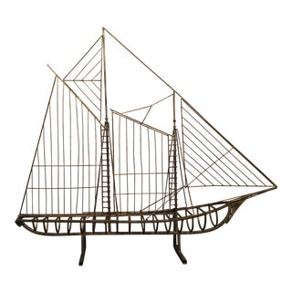 Mid-Century Brass Sailboat