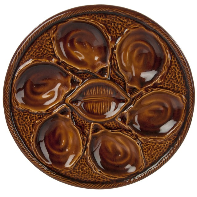 French St. Clement Majolica Oyster Plate - Image 1 of 3