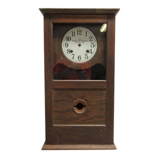 Antique American Classical Style Oak Time Recorder Clock