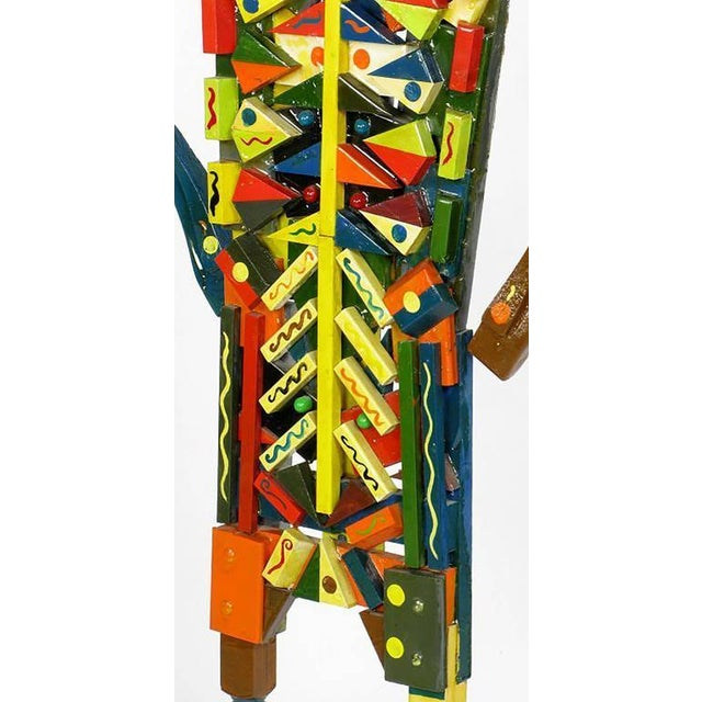 Signed Colorful Folk Art Lifesize Jester Sculpture - Image 4 of 7
