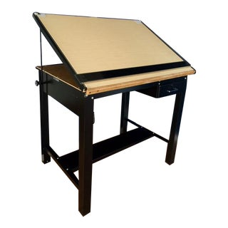 Black Steel Drafting Table