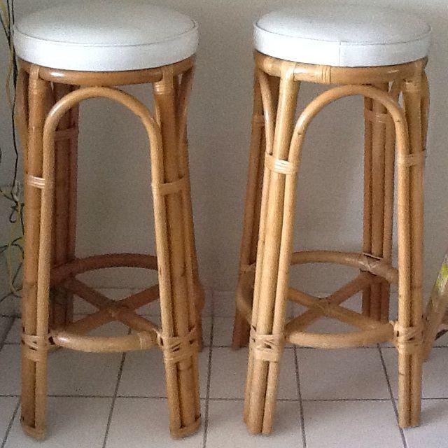 Vintage bamboo rattan bar stools a pair chairish