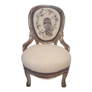 Silver-Leafed Parlor Chair with Painted Owl