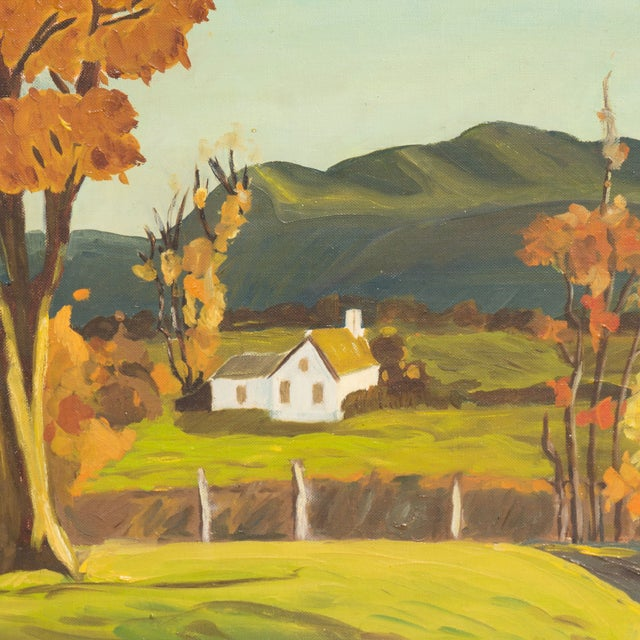 Vintage 1960 Farmhouse in Autumn Oil Painting - Image 3 of 6