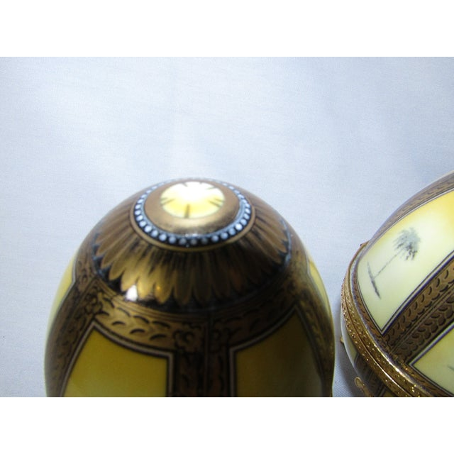 Hinged Porcelain Egg Trinket Box With Palm Trees - A Pair - Image 4 of 7