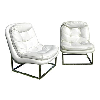 Vintage Mid-Century Modern White Vinyl & Chrome Lounge Chairs- A Pair